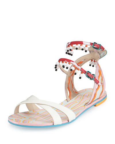 Nereida Beaded Ankle-Wrap Sandal, White