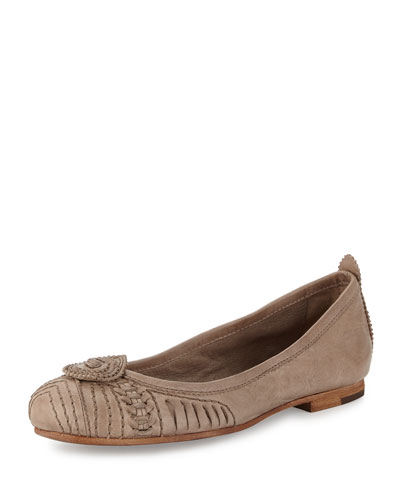 Carson Concho Leather Ballet Flat, Gray