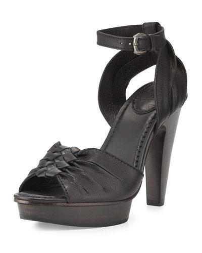 Samara Twisted Leather Sandal, Black