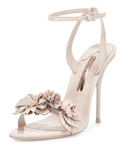 Lilico Floral Leather 105mm Sandal, Nude