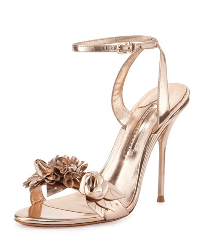 Lilico Floral Leather 105mm Sandal, Rose Gold