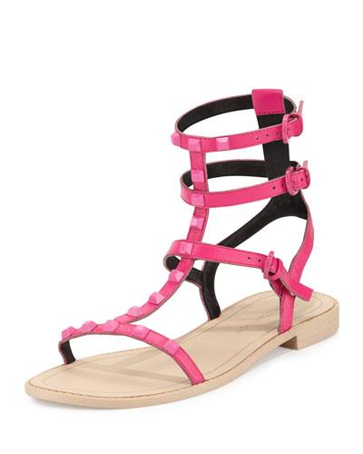 Georgina Studded Flat Gladiator Sandal, Fuchsia