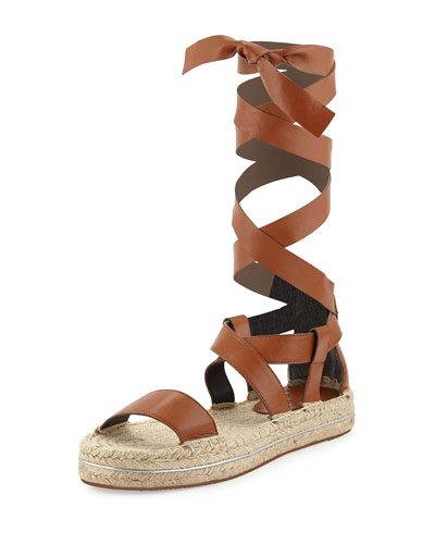 Gila Lace-Up Espadrille Sandal, Chestnut