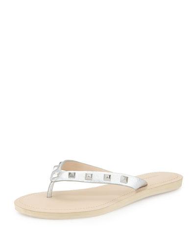 Fiona Studded Flat Thong Sandal, Black