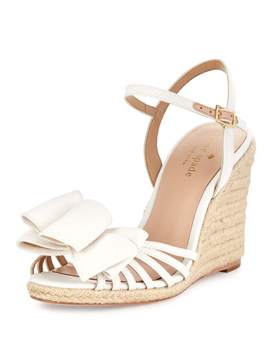 biana grosgrain bow wedge sandal, ivory