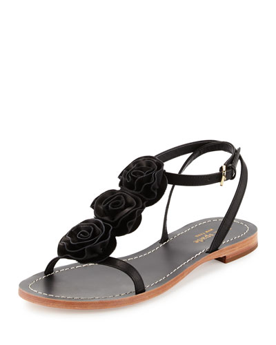 caryl rosette flat thong sandal, black