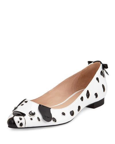 elena dalmatian ballerina flat, white/black