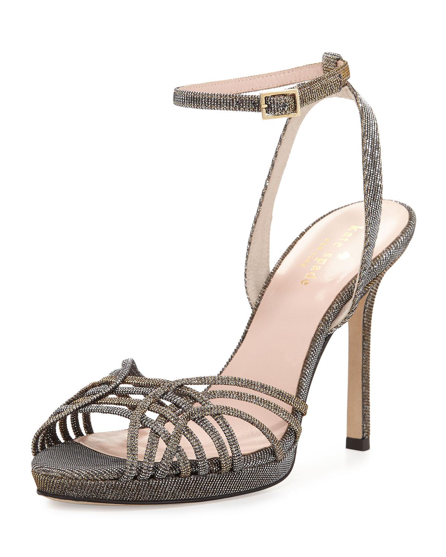 farryn shimmery strappy sandal, bronze