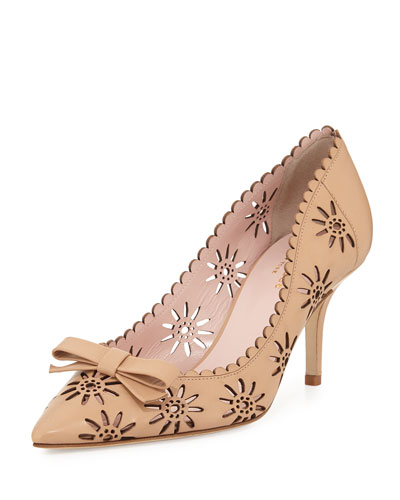 janina laser-cut leather pump, natural
