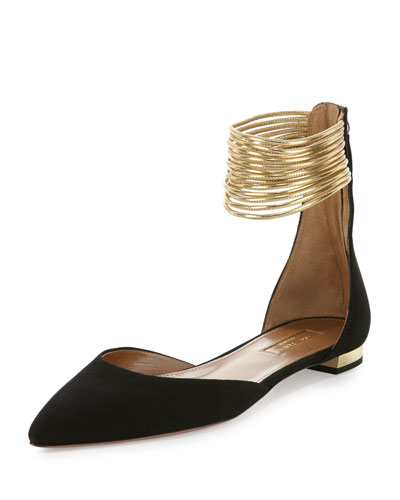 Hello Lover Ankle-Strap Suede Flat, Black