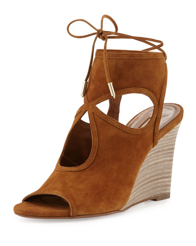 Sexy Thing Suede Wedge Sandal, Cognac