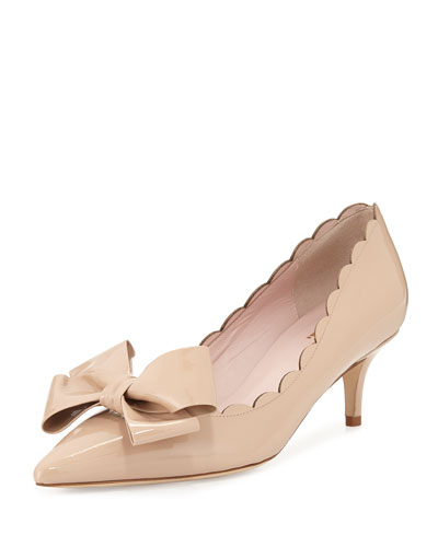 maxine patent scalloped bow pump, powder