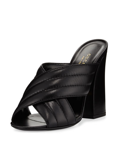 Webby Leather 110mm Slide Sandal, Black