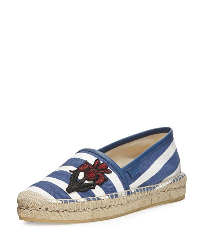 Embroidered Striped Espadrille Flat, Navy