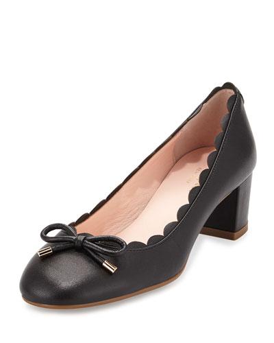 yasmin scalloped leather pump, black