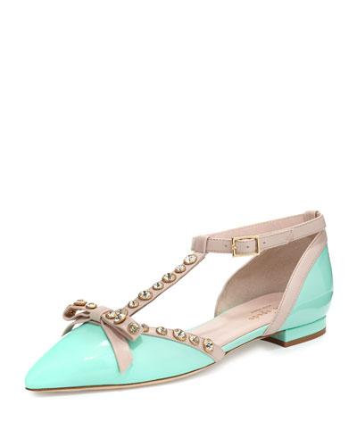 becca jeweled t-strap ballerina flat, mint/pale pink