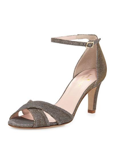 eleanora shimmery crisscross sandal, bronze