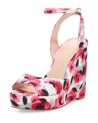 dellie garden-print wedge sandal, deep pink