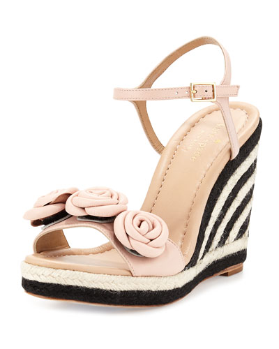 jill rosette leather wedge sandal, pale pink