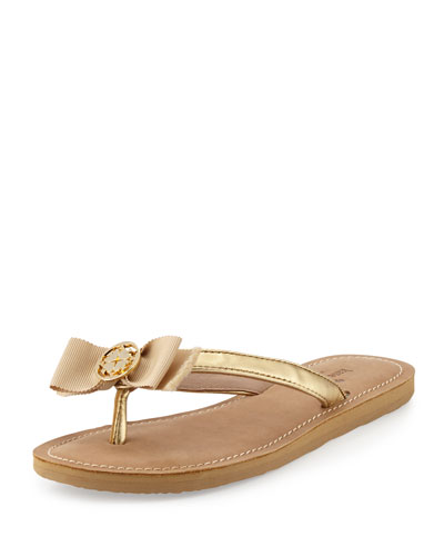 ida bow thong sandal, gold