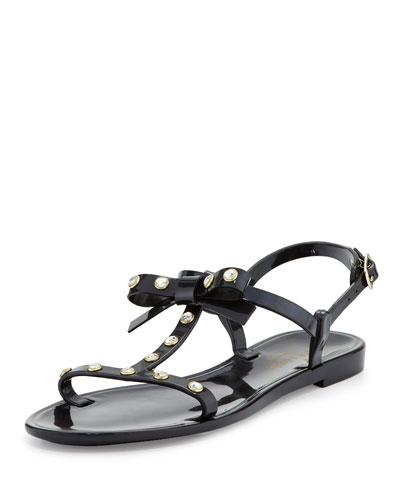 savannah jeweled t-strap flat jelly sandal, black