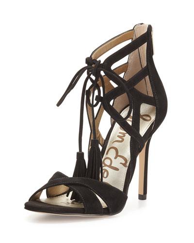 Azela Strappy Suede Tassel Sandal, Black