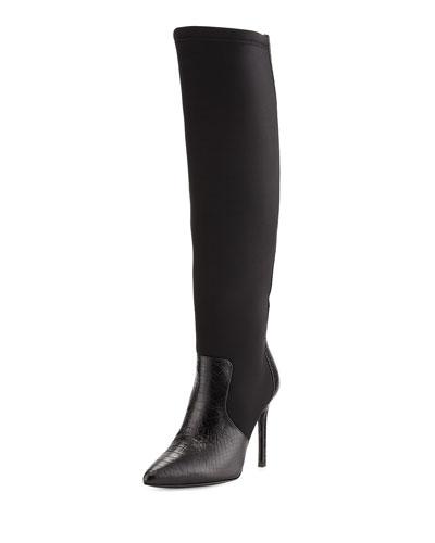 Constance Snake-Embossed High-Heel Boot, Black