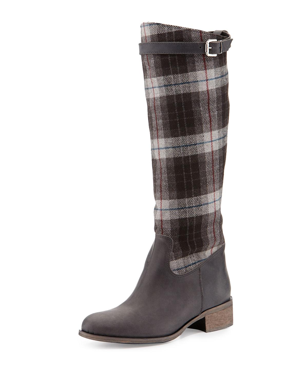 Gentry Plaid Flat Riding Boot, Black