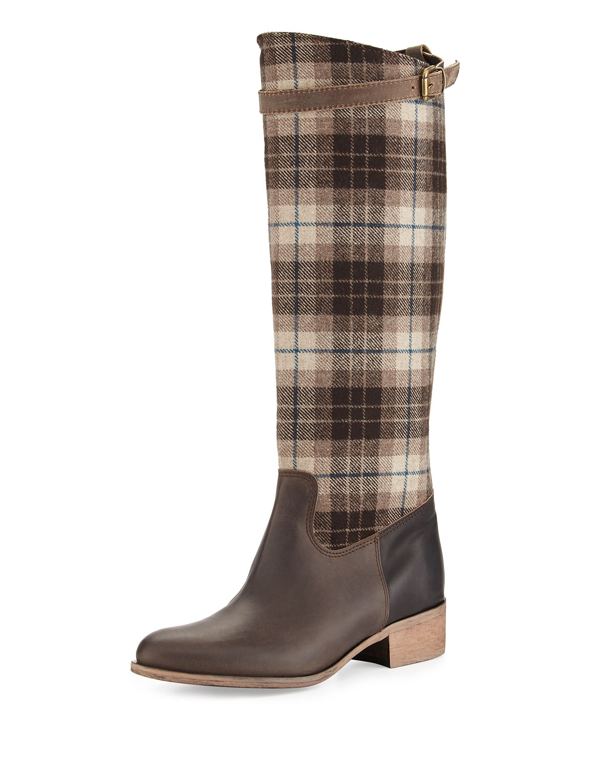 Gentry Plaid Flat Riding Boot, Brown