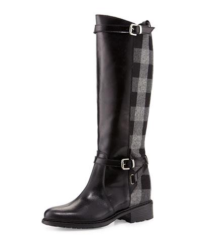 Pirella Plaid Flat Riding Boot, Black/Gray