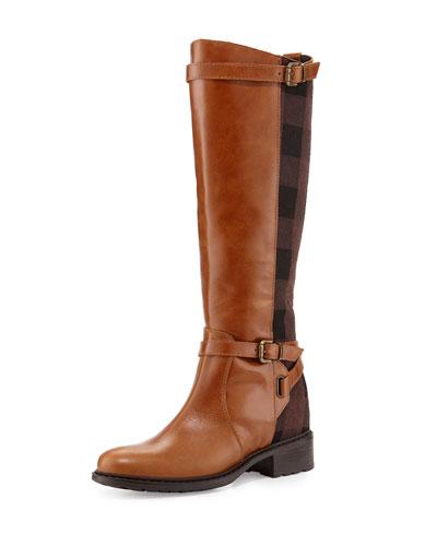 Pirella Plaid Flat Riding Boot, Cognac