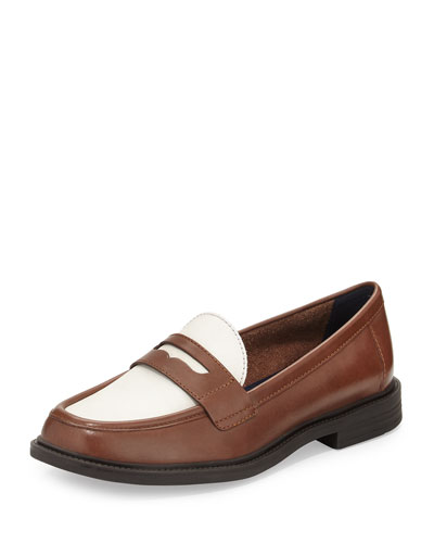 Pinch Campus Leather Penny Loafer, Sequoia/Ivory