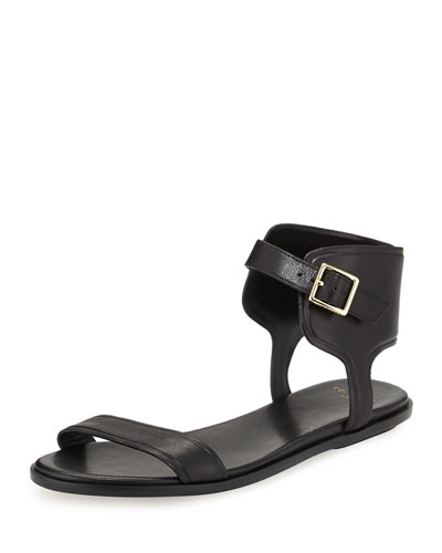 Barra Leather Ankle-Strap Sandal, Black