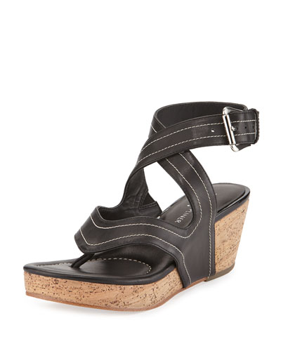 Alma Ankle-Strap Wedge Sandal, Black