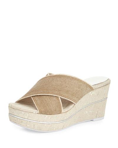 Dani Stretch Wedge Slide Sandal, Natural/White