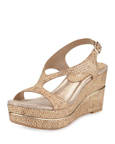 Delon T-Strap Slingback Wedge Sandal, Platino