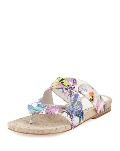Flip Floral Snake-Embossed Sandal, White/Multi