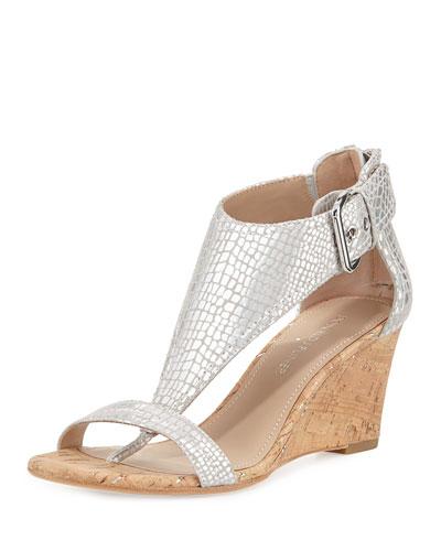 June T-Strap Wedge Sandal, Silver