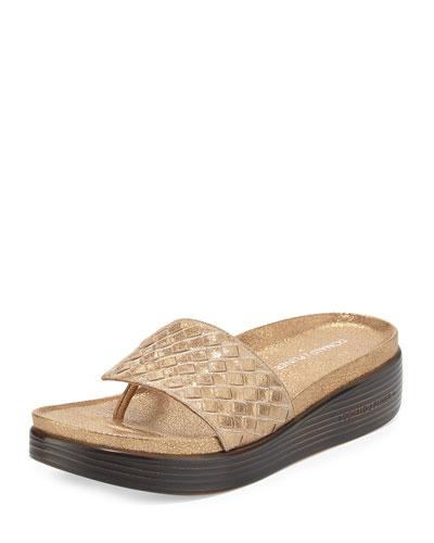 Fifi Woven Platform Sandal, Light Bronze