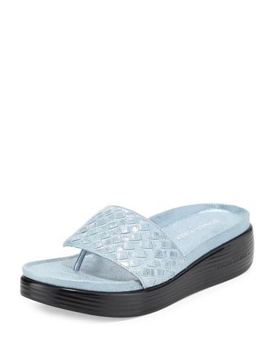 Fifi Woven Platform Sandal, Soft Blue