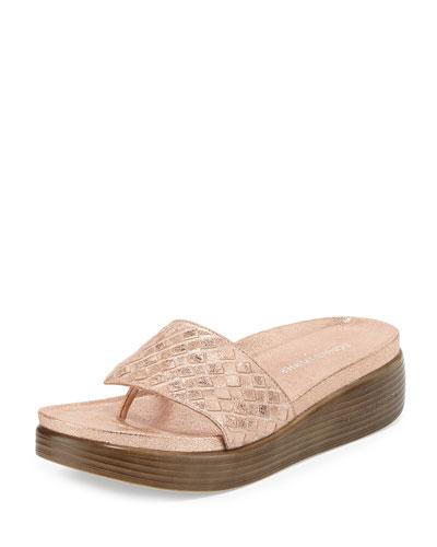 Fifi Woven Platform Sandal, Rose