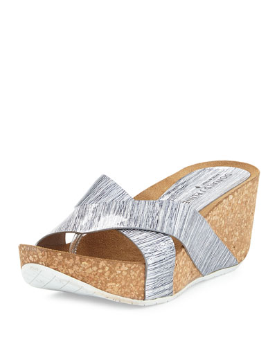 Gallo Crisscross Wedge Thong Sandal, Silver