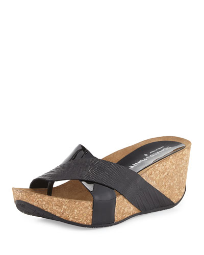 Gallo Crisscross Wedge Sandal, Black