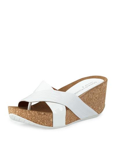 Gallo Crisscross Wedge Sandal, White