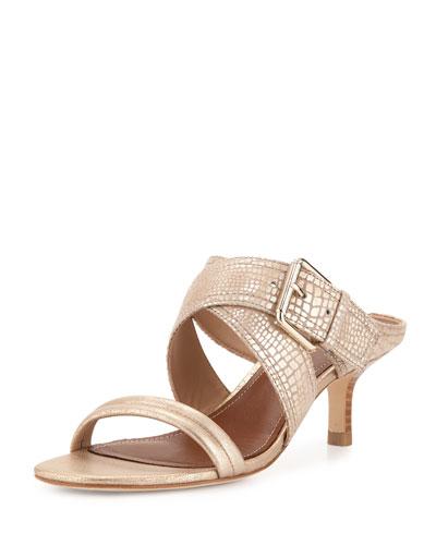 Mora Buckle Kitten-Heel Slide Sandal, Light Gold