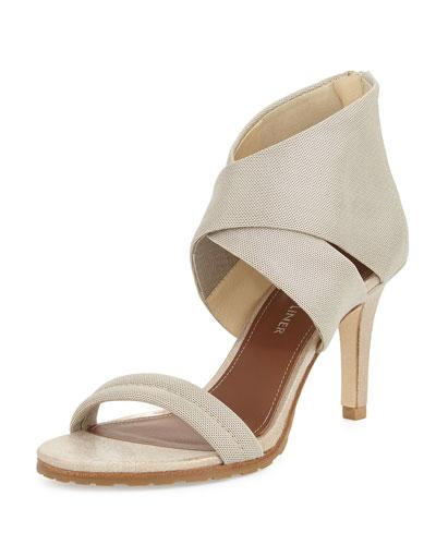 Tilly Stretch Mid-Heel Sandal, Platino