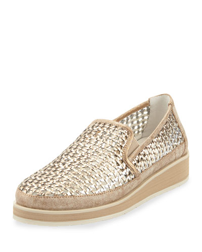 Maze Woven Leather Slip-On Sneaker, Light Bronze