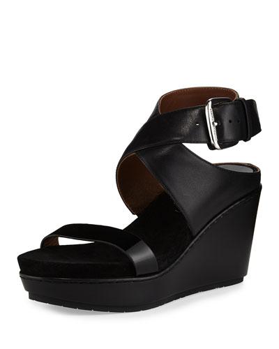 Jaden Leather Crisscross Wedge Sandal, Black