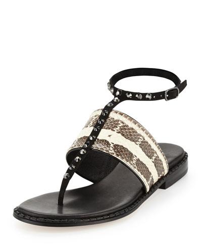 Lacy Jeweled Ankle-Wrap Flat Sandal, Bone/Black