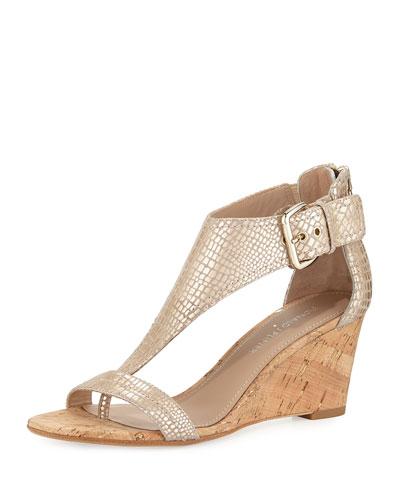 June T-Strap Wedge Sandal, Platino